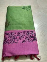 ST brand Block Prints Poly Cotton Saree, With Blouse, 6.3 m