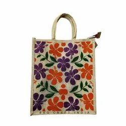 Flower Printed Jute Bag