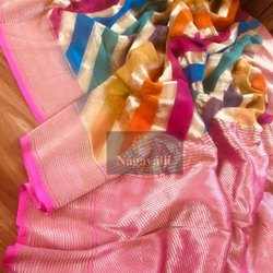 6.3 m (with blouse piece) Patola Banarasi Handloom Pure Chiffon Bandhani Silk Saree