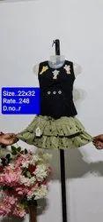 R Sleeves Less Kids Skirt Top