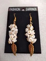 Mixed Party Wear Fashion Earring With Natural Stone