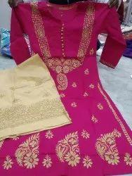 Chikan cotton contrast plazzo suit