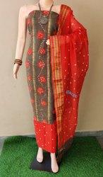 Pure Cotton Satin Bandhani Suits