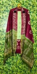 Cotton Batik Printed 3 Pcs Suit Materials