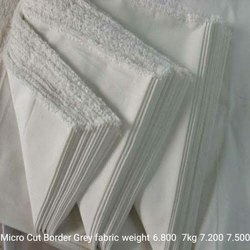 Silk Micro Cut Border Grey Fabric