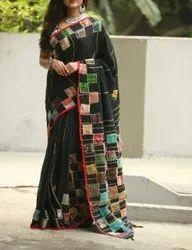 Handloom Saree With Applique Cotton