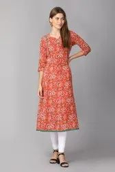 Cotton Casual Wear Orange Floral Printed Anarkali Kurti, Wash Care: Machine wash
