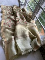 Floral Jaal Embroidery Work On Silk Linen Sarees