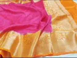 Banarasi Silk Linen Saree With Antique Border