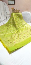 Casual Wear Green Kota checks saree with mina, 6.3 m (with blouse piece)