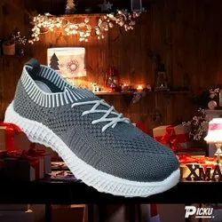 Grey, White Casual Wear Ladies PU Sports Shoes