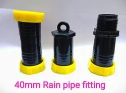 Vision Agritech Black And Yellow 40mm Rain Pipe Fitting, For Irrigation, Head Type: Round