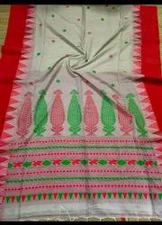Khadi Cotton Temple Border Jamdani Sarees