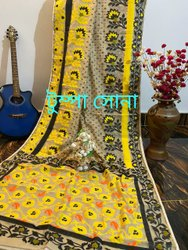 Jacquard design Maslin Handloom Cotton Silk Jamdani Saree, 6.3 m (with blouse piece)