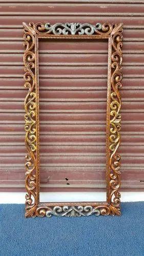 Golden Antique Wooden Mirror Frame Rs, Antique Wooden Frame Mirror