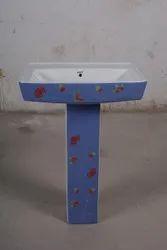 Pedestal White Square Wash Basin, For Home