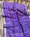Floral Jaal Embroidery Work On Silk Linen Saree
