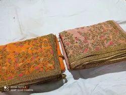 Wedding Viscose Designer Sarees Katha work, With blouse piece, 6.30 mtr