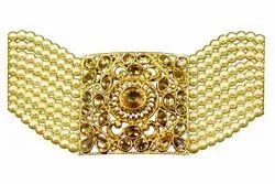 Golden Brass NMJBT1 Gold Plated Kundan Pearl Bracelet