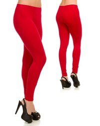 Stretchable Red Ladies Cotton Lycra Legging, Size: Free Size
