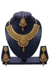 Wedding Golden NMJ1225 Gold Plated Kundan Necklace Set
