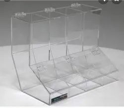 Box Transparent dispenser small parts acrylic products, Assembled by Company at Site, Size: 17.5 W X 10.5 D X 13 H