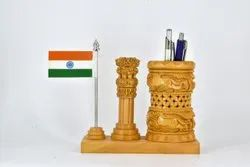 Wooden Pen Stand With Ashok Stambh
