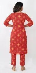 Gold and Red Color Print Cotton Kurta Set