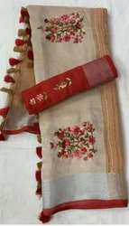 Linen Thread Weaving Motiff Sarees