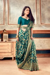 Banarasi Weaving Soft Silk Saree With  Rich Heavy Border With All Over Butti Weaves