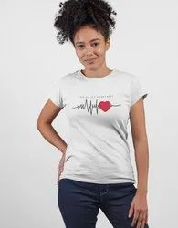 Cotton Digital White T-Shirts With Heart Print, Designing