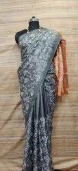Silk Staple Embroidery Sareee