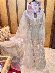 Net Embroidered Ladies Designer Gown