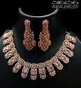 Cz Jewellery Rose Gold American Diamond Necklace Set, Size: Free