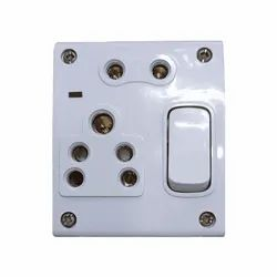 6A White Generic Switch And Socket Combined With Box (1 plus 2)