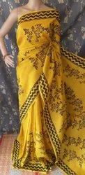 Hand Block Painted Tussar Silk Sarees