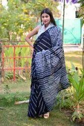 Bagru Print Cotton Mulmul Saree With Blouse Piece