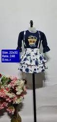 R Navy Blue Kids Skirt Top