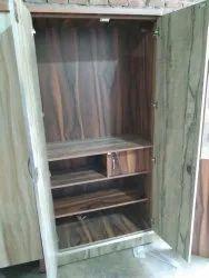 Brown Double Door Wooden Almirah, Without Locker