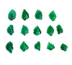 Natural Emerald Hand Craft Craving Leaf