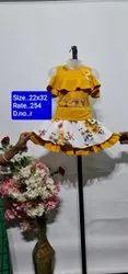 R Yellow Sleeves Less Kids Skirt Top