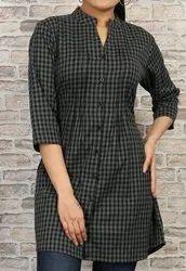 Cotton Printed Blue & Black Ladies Checked Print Shirt