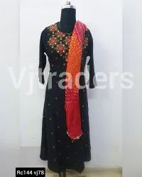 Rayon Party Wear Ladies Long Kurti with Dupatta, Size: XL, Wash Care: Handwash