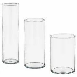 Transparent Cylinder Glass Vases, Shape: Cylindrical