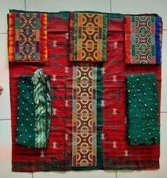 Satin Cotton Multicolor Swati Print Assorted Panel Style Tie Dye Unstitched Suit, For Ladies Garments