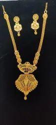 Wedding Wear Golden Gold Plated Long Necklace Set