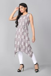 Rayon Knee Long Grey and white printed sleeveless kurti, Size: Small To Xxl