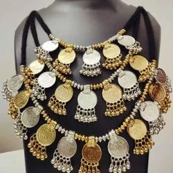 Party Wear Delhi Oxidized Silver Plated Coin Necklace, Size: Free