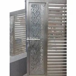 Silver CNC (Laser Cutting) JNB 304 Grade Stainless Steel Main Gate, For Home, Size: 7x10Feet