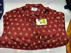 Cotton Collar Neck Flower Printed Shirt
